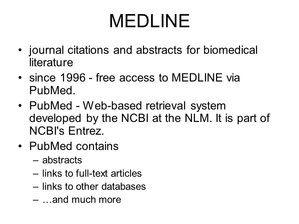 MEDLINE journal citations and abstracts for biomedical literature
