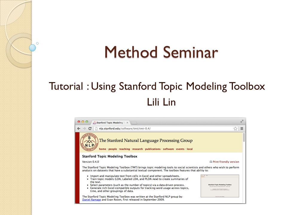 Tutorial : Using Stanford Topic Modeling Toolbox Lili Lin
