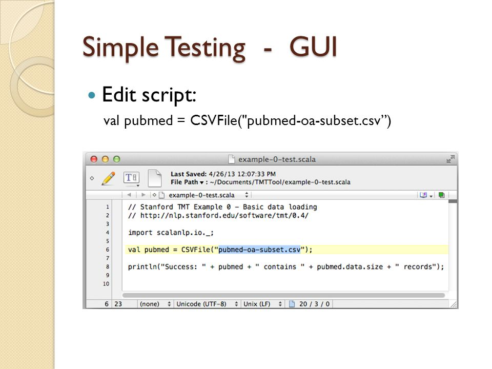 Simple Testing - GUI Edit script: