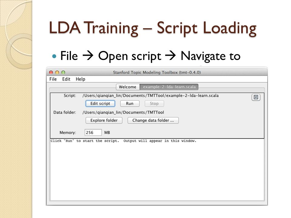 LDA Training – Script Loading