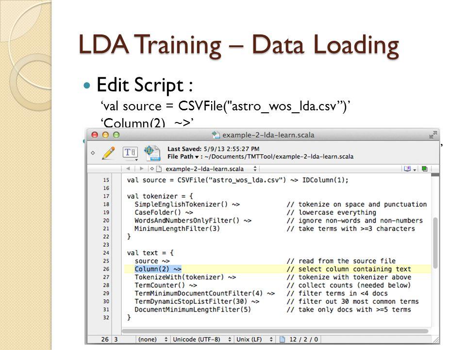 LDA Training – Data Loading