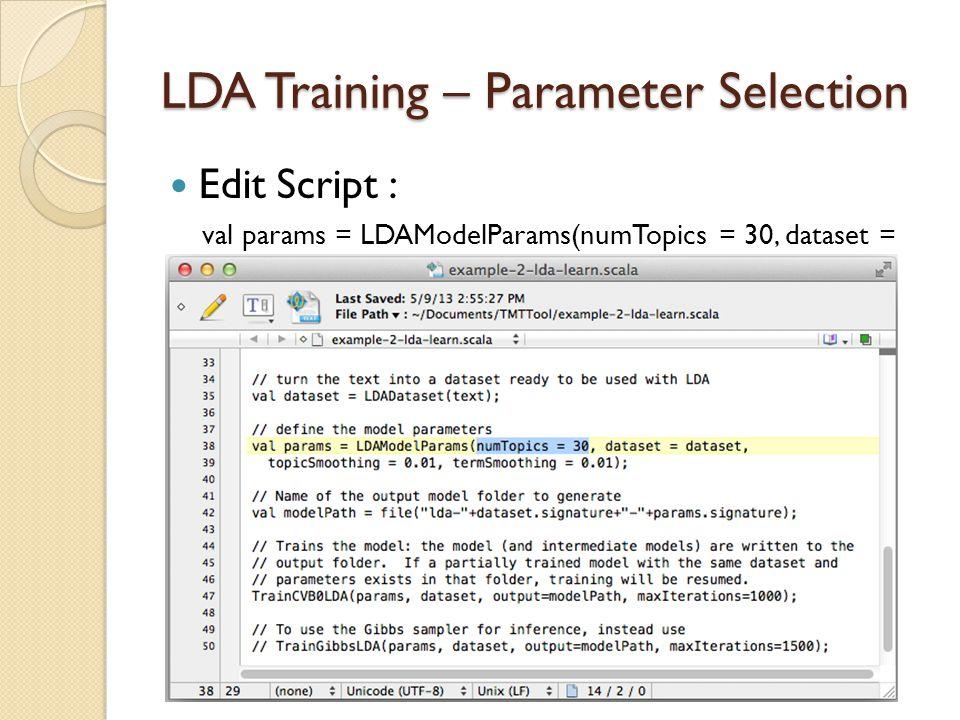 LDA Training – Parameter Selection