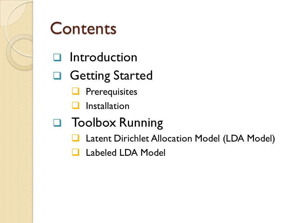 Contents Introduction Getting Started Toolbox Running Prerequisites