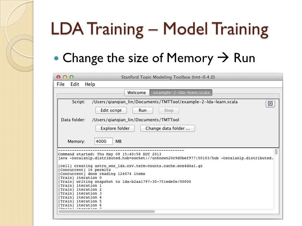 LDA Training – Model Training