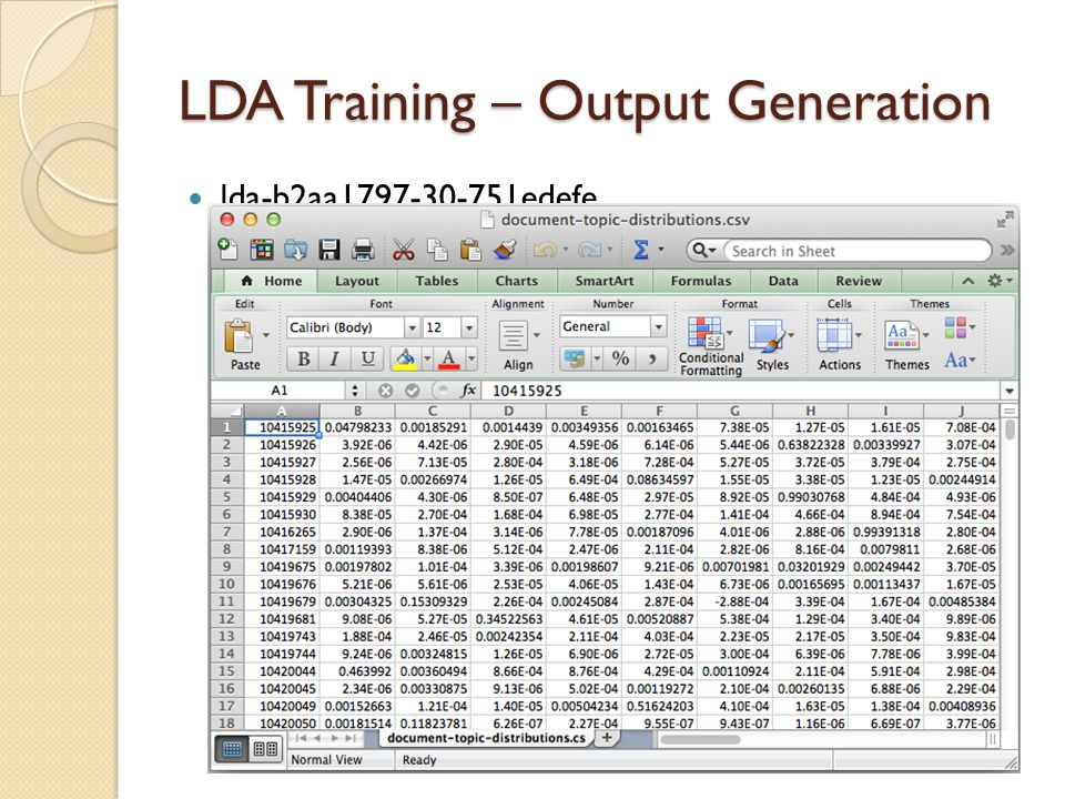 LDA Training – Output Generation