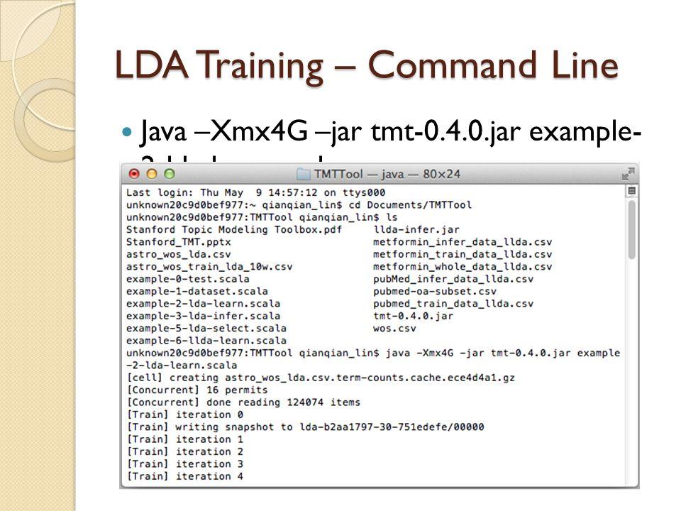 LDA Training – Command Line
