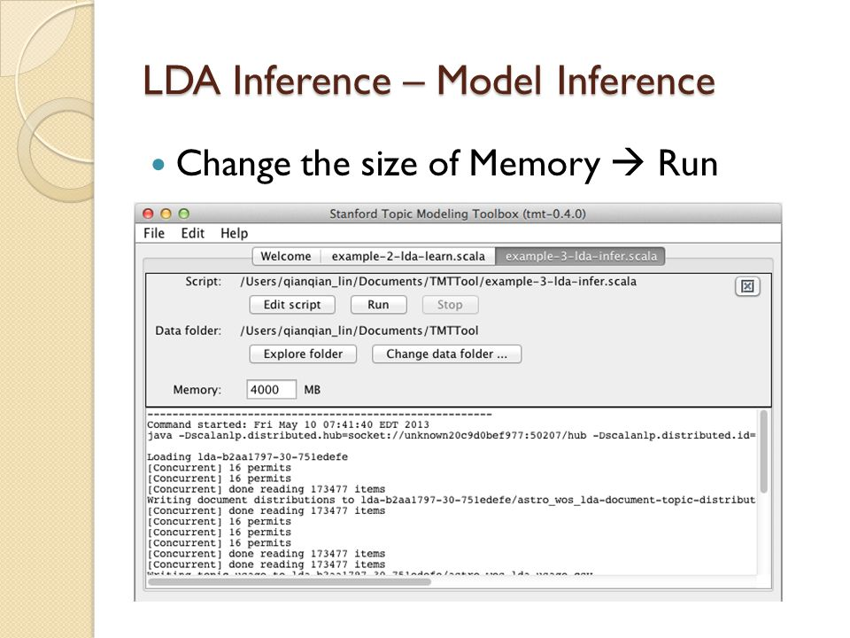 LDA Inference – Model Inference