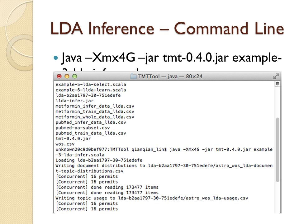 LDA Inference – Command Line