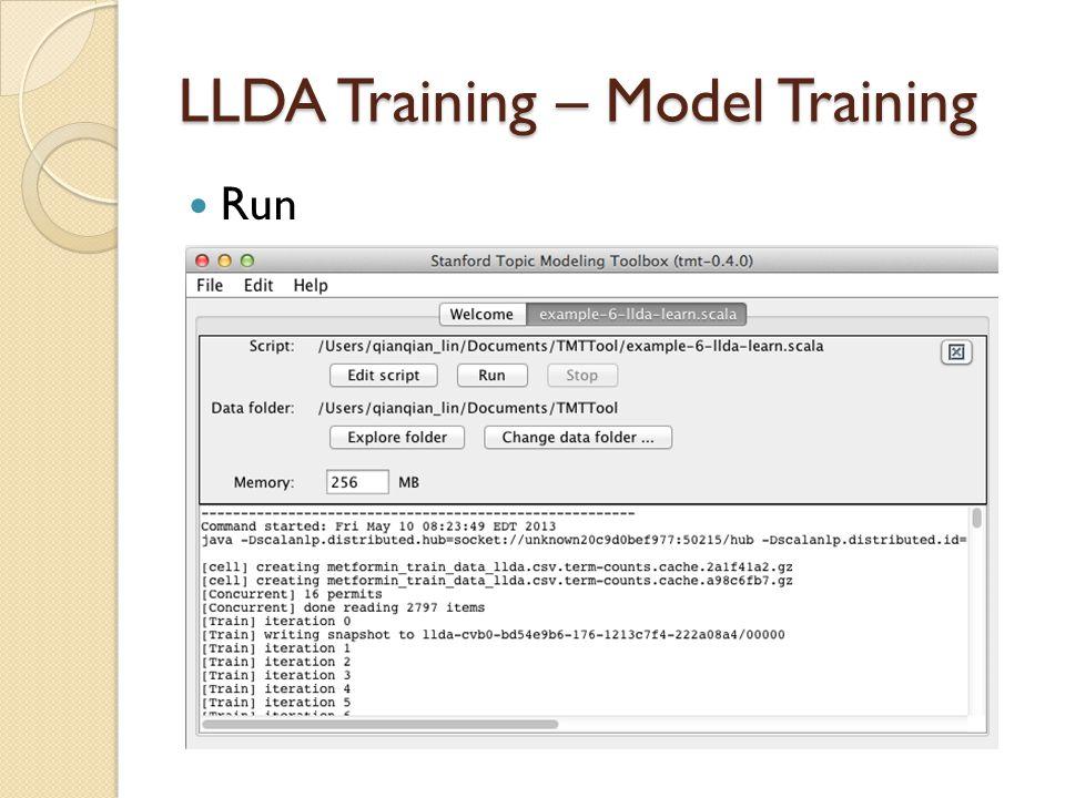 LLDA Training – Model Training