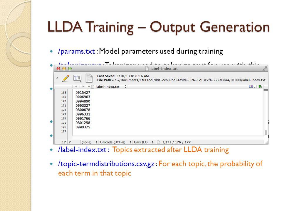 LLDA Training – Output Generation