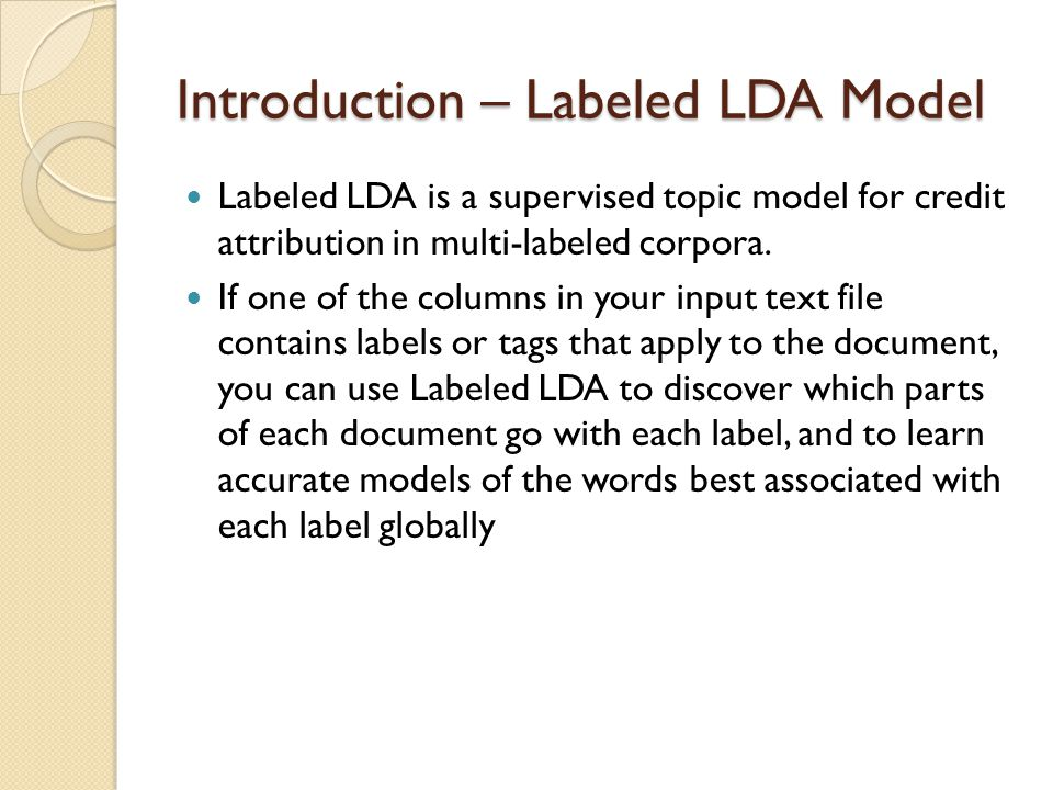 Introduction – Labeled LDA Model