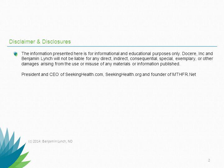 Disclaimer & Disclosures
