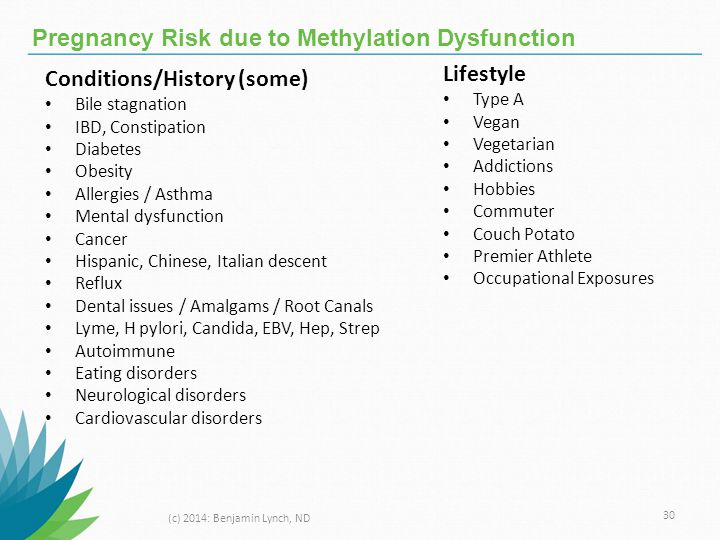 Pregnancy Risk due to Methylation Dysfunction