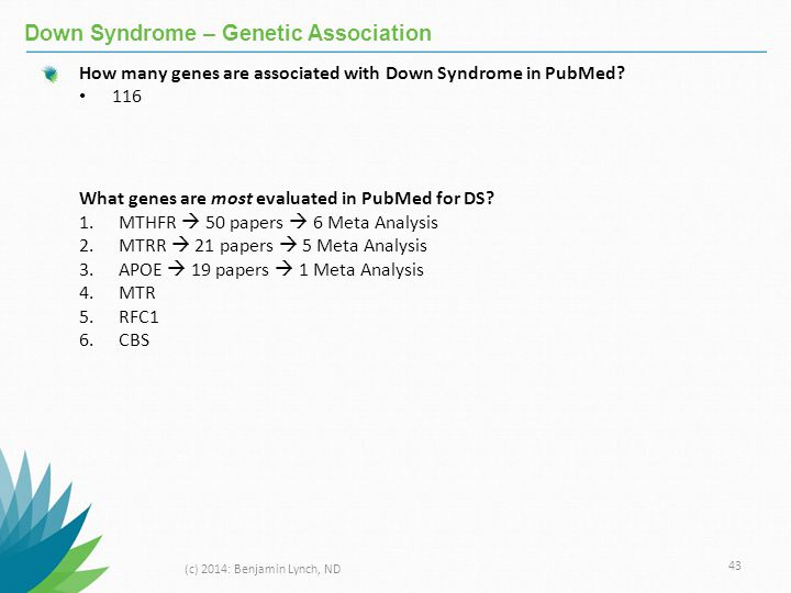 Down Syndrome – Genetic Association