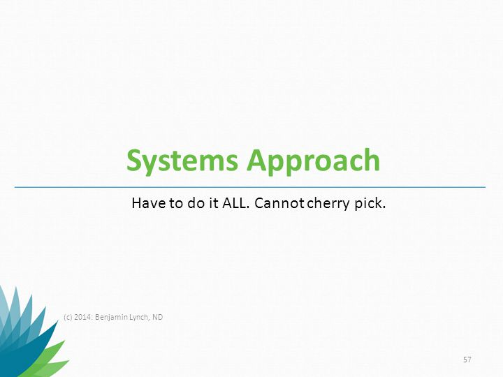 Systems Approach Have to do it ALL. Cannot cherry pick.