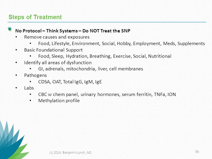 Steps of Treatment No Protocol – Think Systems – Do NOT Treat the SNP