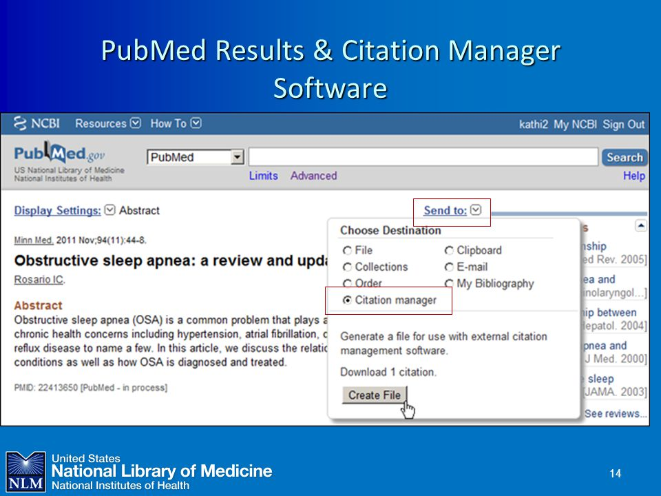 PubMed Results & Citation Manager Software