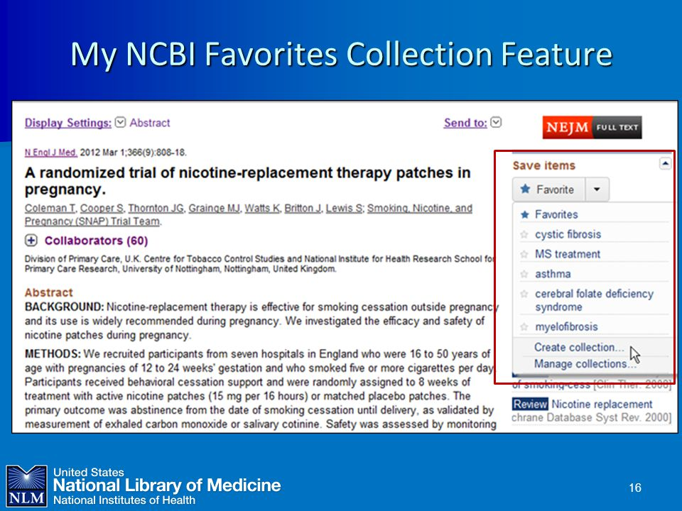 My NCBI Favorites Collection Feature