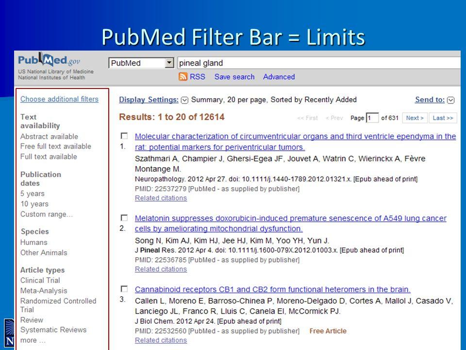 PubMed Filter Bar = Limits