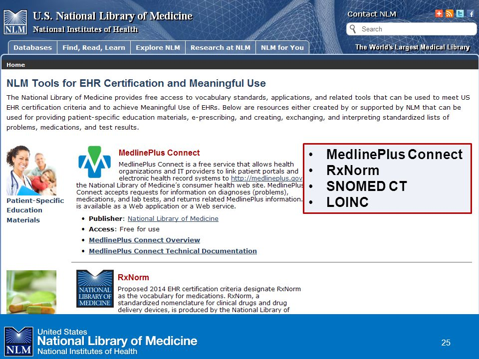 NLM Resources NLM Tools for HER Certification and Meaningful Use