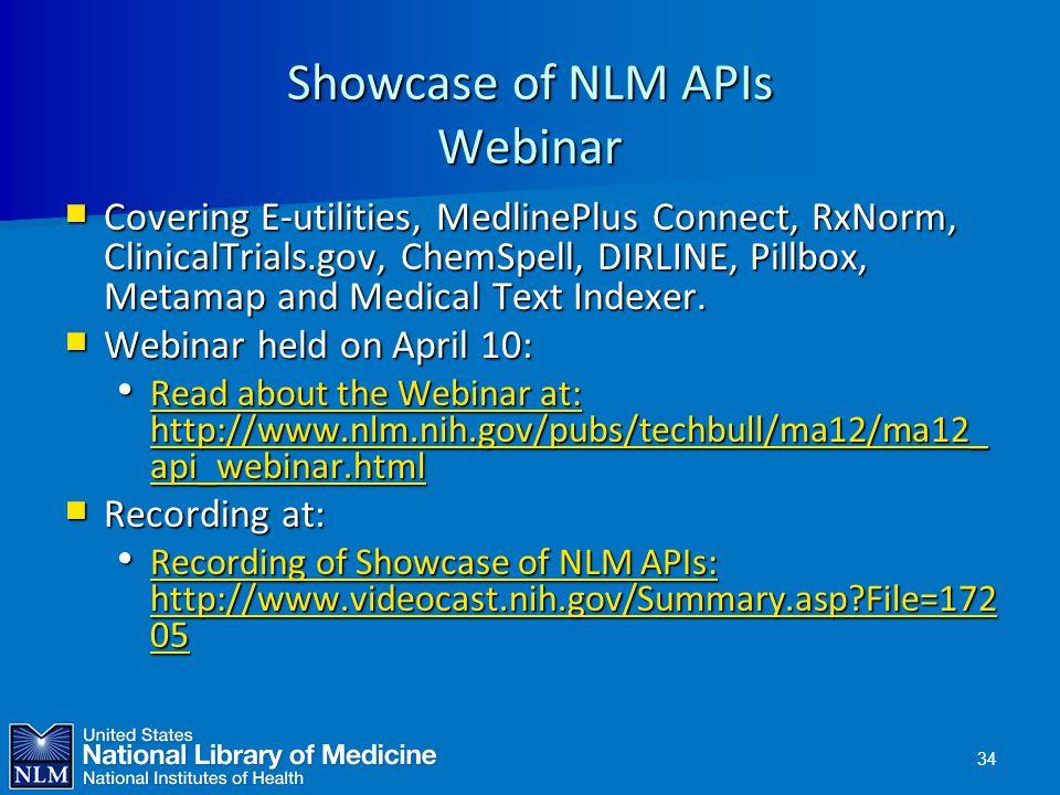 Showcase of NLM APIs Webinar