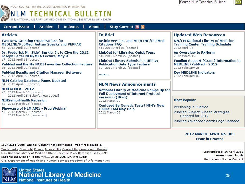 NLM Technical Bulletin
