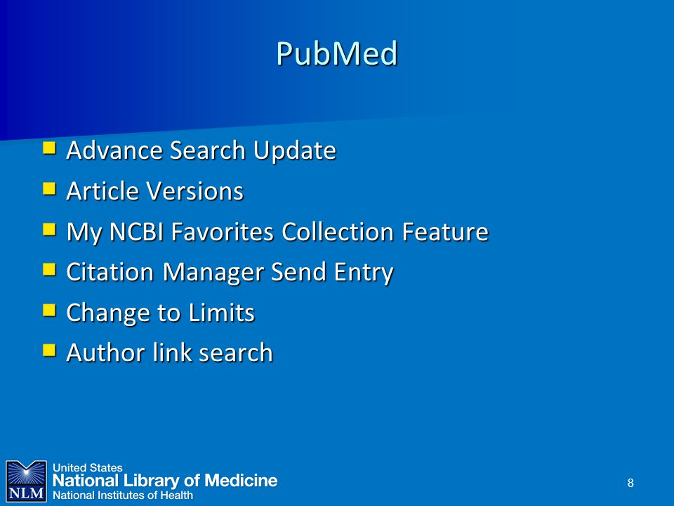 PubMed Advance Search Update Article Versions