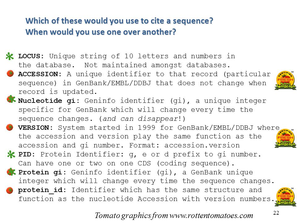 Fiona Brinkman Which of these would you use to cite a sequence When would you use one over another