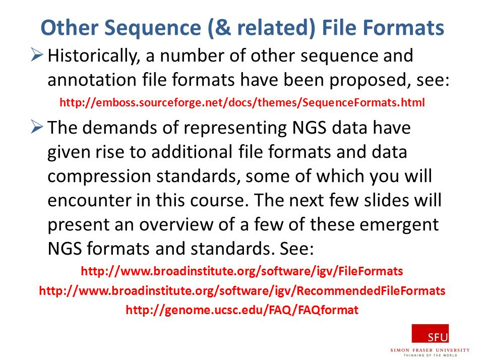Other Sequence (& related) File Formats