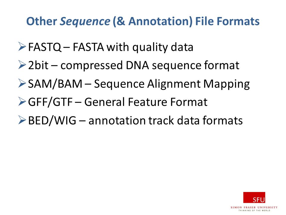 Other Sequence (& Annotation) File Formats