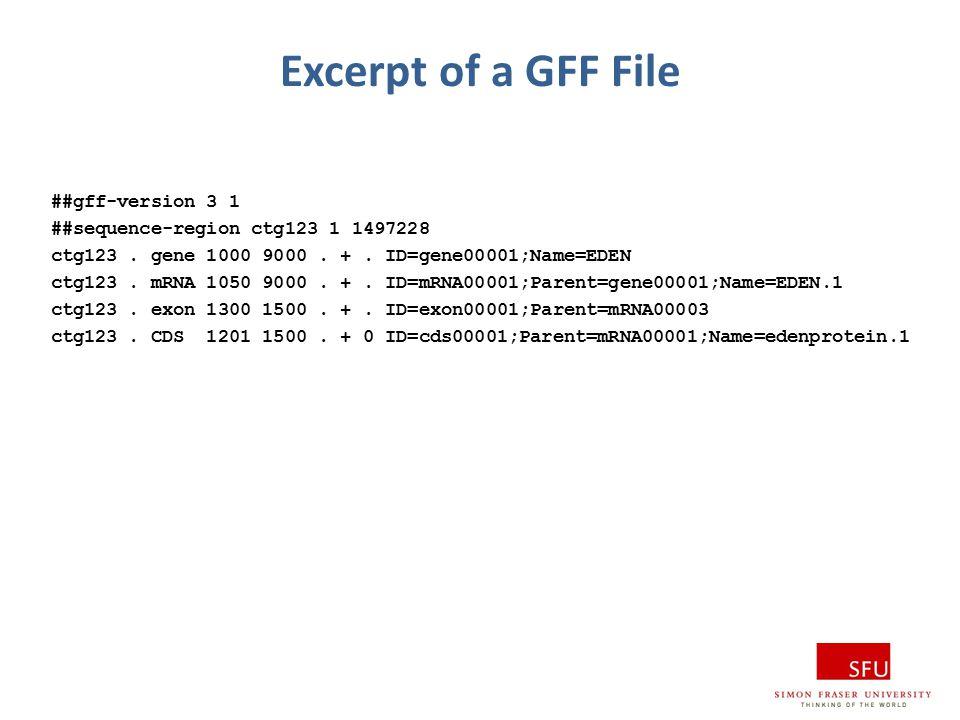 Excerpt of a GFF File