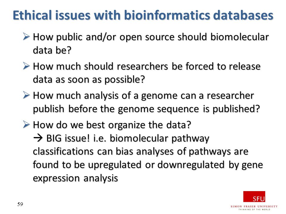 Ethical issues with bioinformatics databases