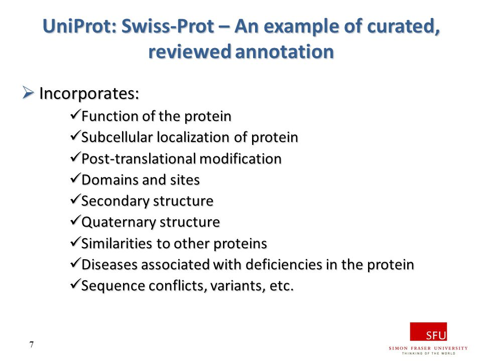 UniProt: Swiss-Prot – An example of curated, reviewed annotation
