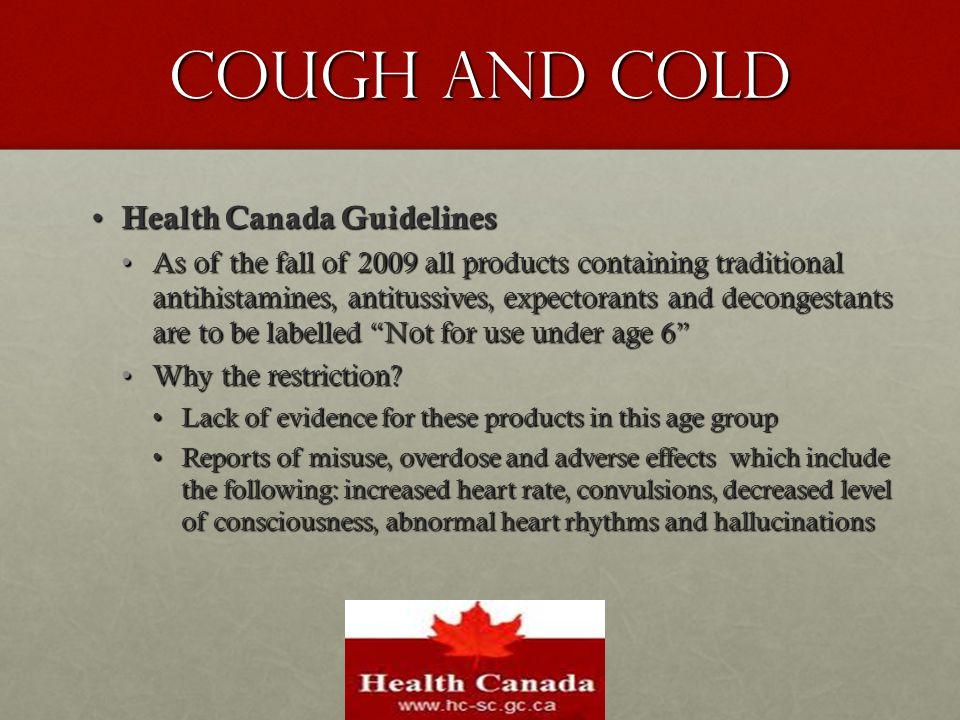 Cough and Cold Health Canada Guidelines