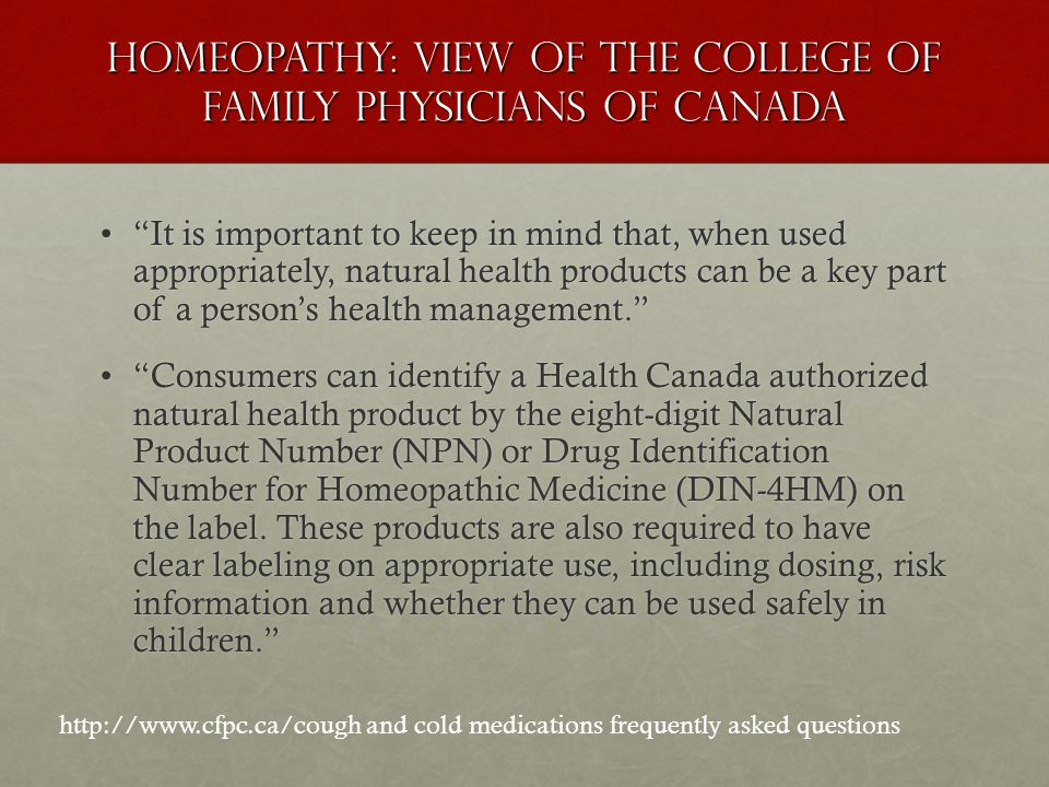 Homeopathy: View of the College of Family Physicians of Canada