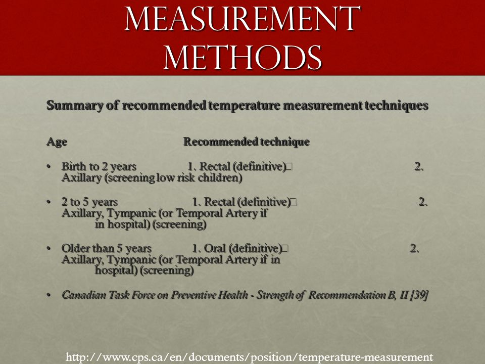 Measurement Methods Summary of recommended temperature measurement techniques. Age Recommended technique.
