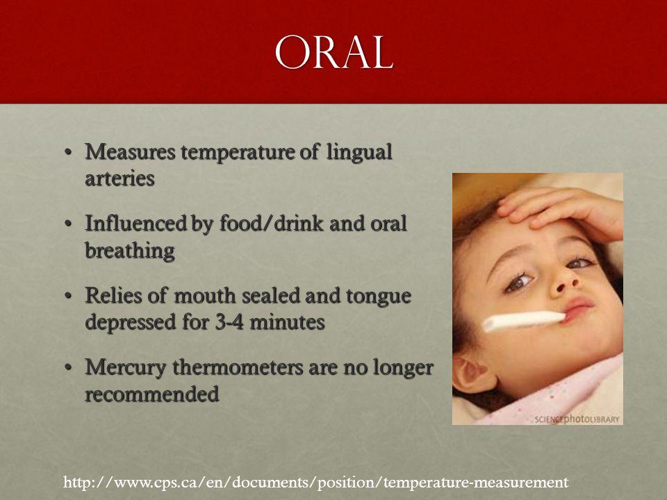 Oral Measures temperature of lingual arteries