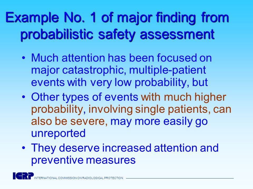 Example No. 1 of major finding from probabilistic safety assessment