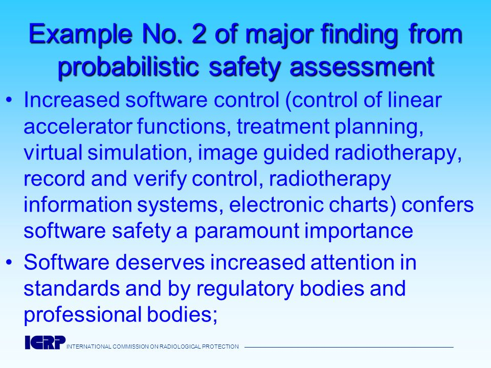 Example No. 2 of major finding from probabilistic safety assessment