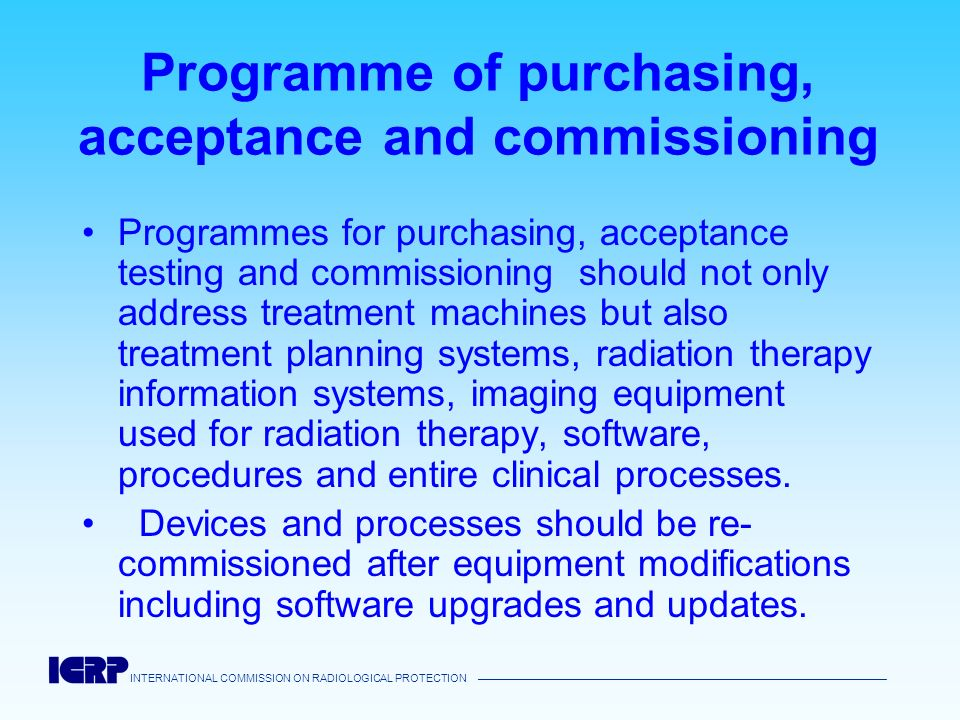 Programme of purchasing, acceptance and commissioning