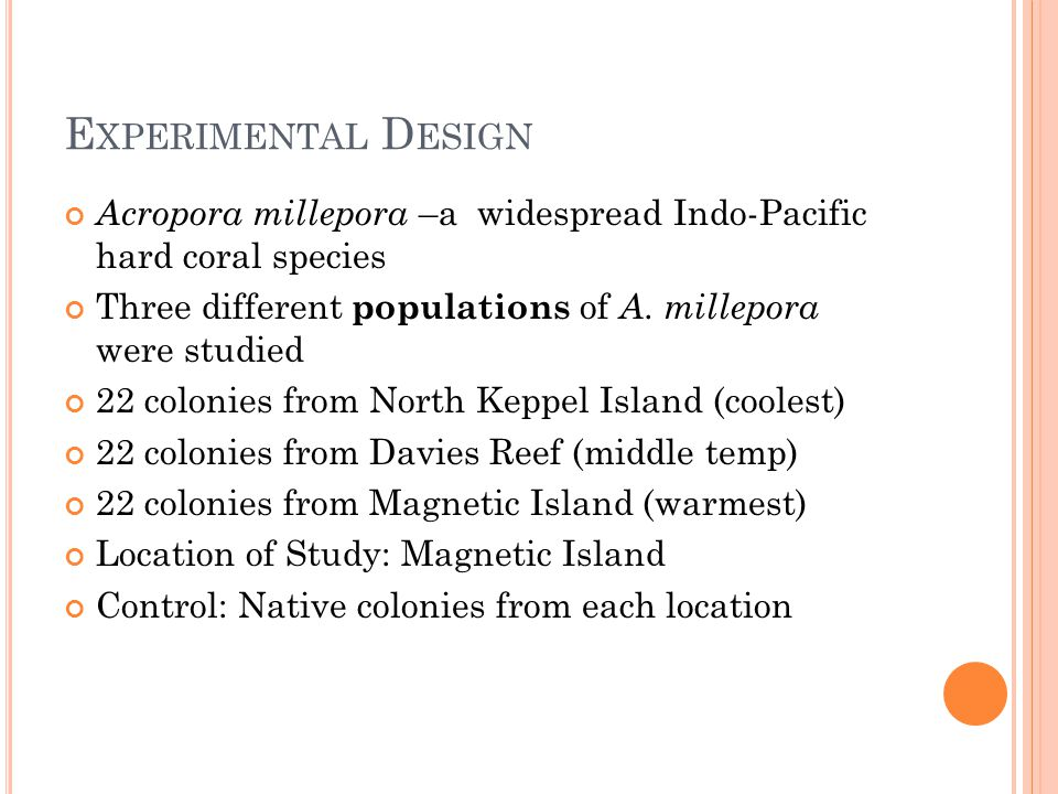 Experimental Design Acropora millepora –a widespread Indo-Pacific hard coral species. Three different populations of A. millepora were studied.