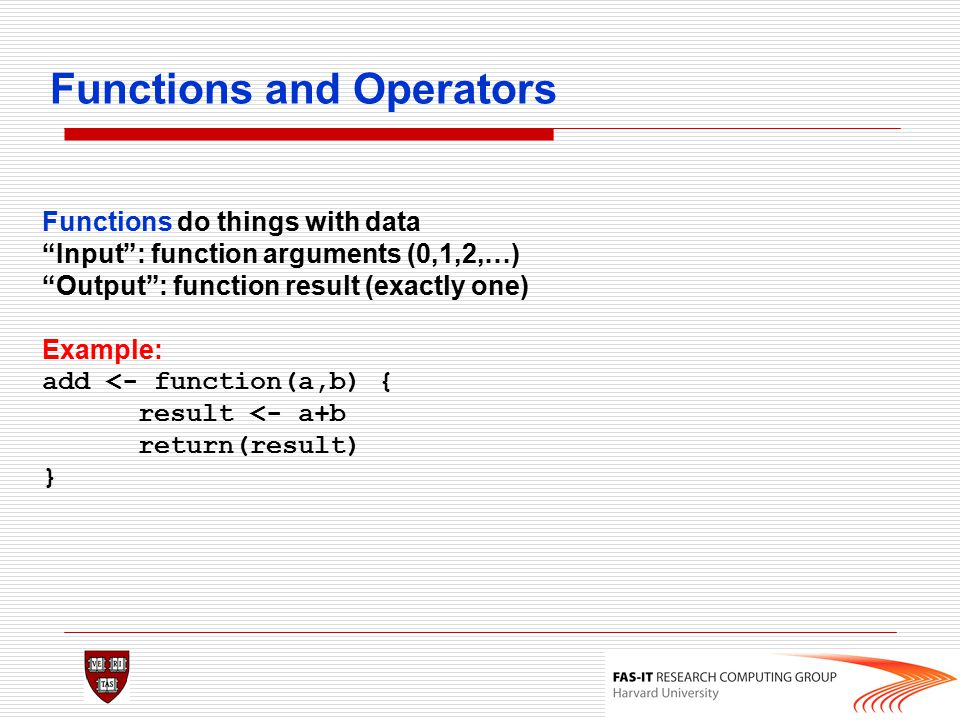 Functions and Operators