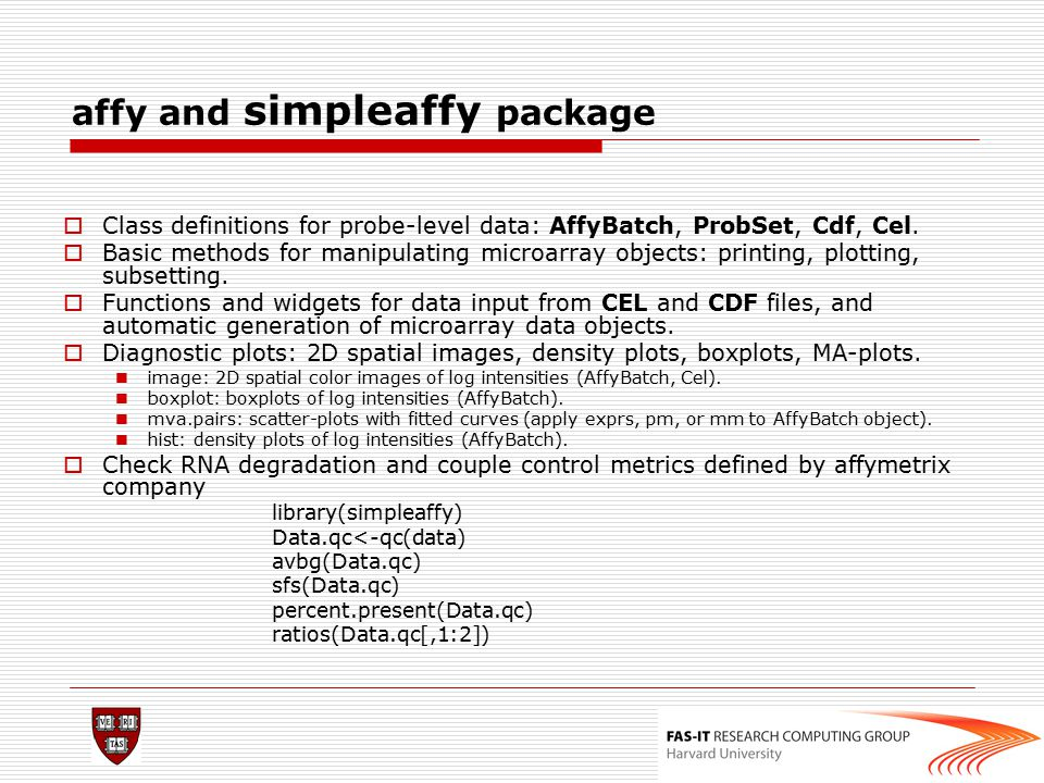 affy and simpleaffy package