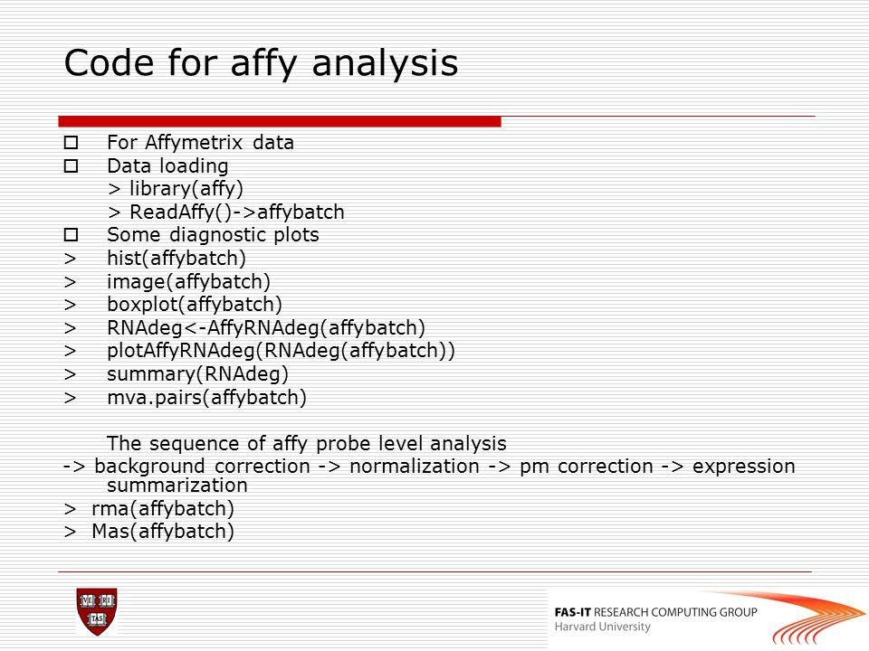 Code for affy analysis For Affymetrix data Data loading