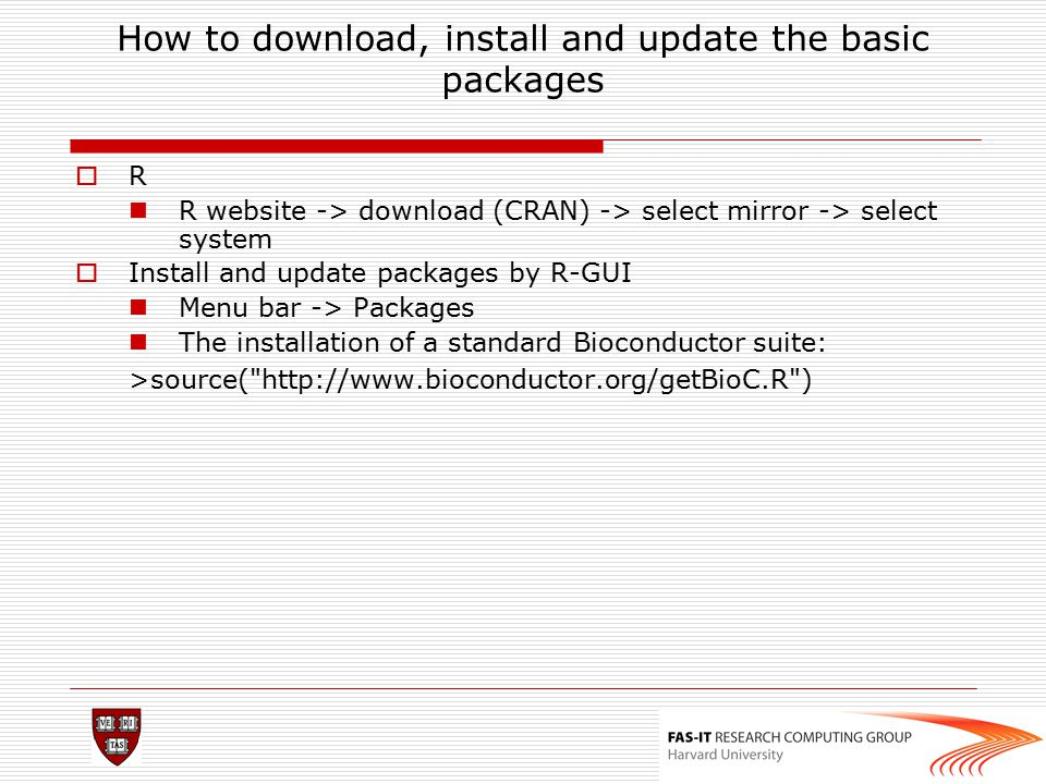 How to download, install and update the basic packages