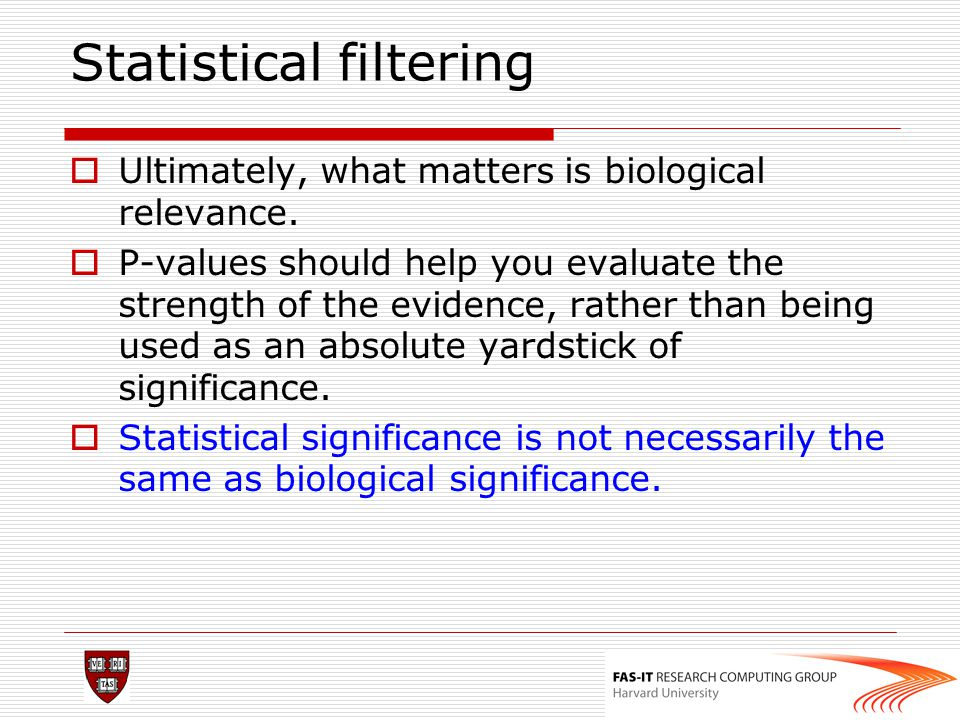 Statistical filtering