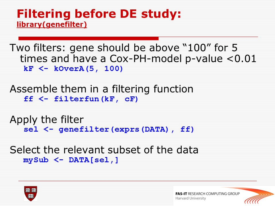 Filtering before DE study: library(genefilter)