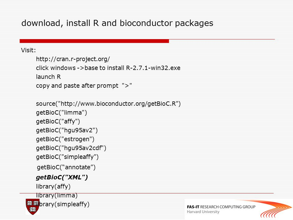 download, install R and bioconductor packages