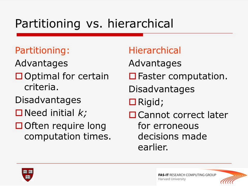 Partitioning vs. hierarchical