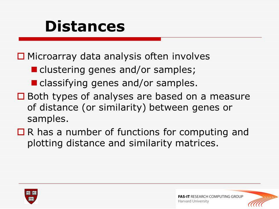 Distances Microarray data analysis often involves